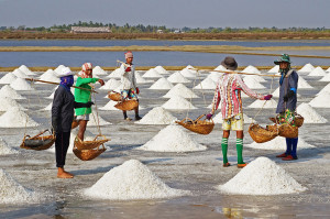 Farming for sea salt in Thailand.